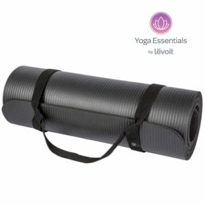 Levoit Yoga Mat, 1/2 Inch Extra Thick Exercise Mats for Workout Fitness Pilates and Floor Exercises, High-Density Anti-Tear Non-Slip NBR Foam Mat with Carrying Strap (Black)